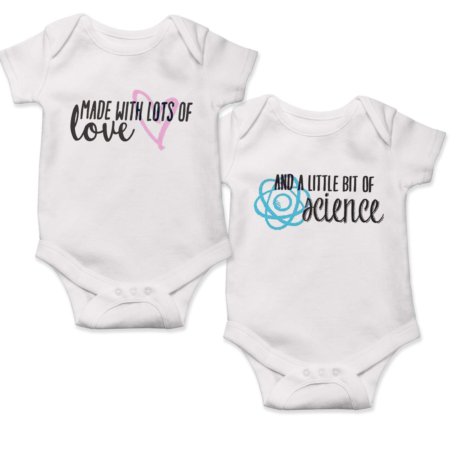 IVF Twin Baby Onesie Clothes Made with Love and Science Outfits Take Home Outfit Iui Babies Rainbow in Vitro Twins