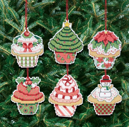 Cross Stitch Christmas Ornament Kits (Janlynn Christmas Cupcake Ornaments Counted Cross Stitch Kit)