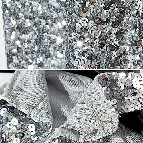 unica Glitter Maniche Magliette Bluse Argento ZongSen Canotte Tops Taglia Paillettes Senza Donne Rosso 1RxEqP