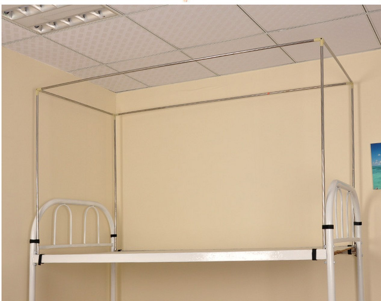 KingKara Students' Dormitory Stainless Steel Canopy Bed Frame