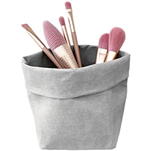 Washable Kraft Paper Bag, Makeup Organizer Cosmetics Organizer Vanity Organizer Makeup Organizer Case Bathroom Countertop Organizer Pencil Holder for Desk Pen Cup Desk Decor Desktop Organizer(Gray L)