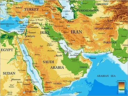 Poster 40 X 30 Cm Middle East Topographic Map By Editors Choice