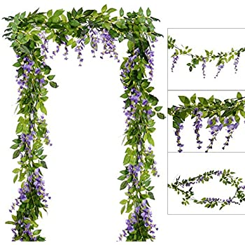 Amazon 4pcs 66ftpiece artificial flowers silk wisteria 4pcs 66ftpiece artificial flowers silk wisteria garland dearhouse artificial wisteria vine rattan mightylinksfo Choice Image