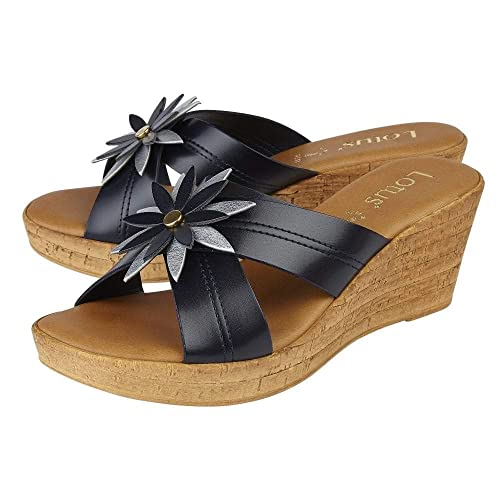 275280a07358c Lotus Japonica Navy & Silver Wedge Sandals: Amazon.co.uk: Shoes & Bags