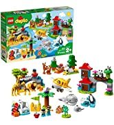LEGO DUPLO Town World Animals 10907 Building Bricks, Toy Animal Set for Toddlers includes Whales,...