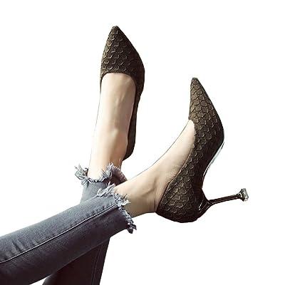8cm printemps vert foncé bouche peu profonde chaussures bouffantes, talons fins, chaussures de travail professionnel ( Couleur : Dark green 8cm , taille : 39 )