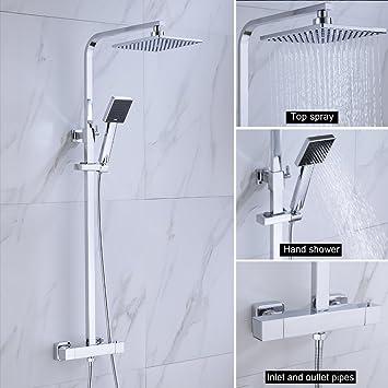 BONADE Duschset mit Thermostat Duschsystem Höhenverstellbar ...