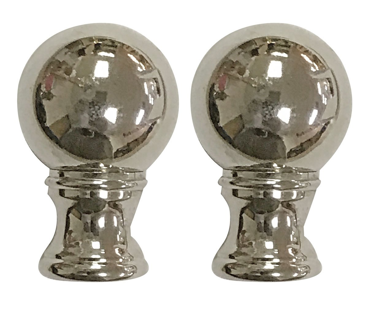 Royal Designs Small Ball Lamp Finial for Lamp Shade- Polished Silver Ser of 2 by Royal Designs, Inc