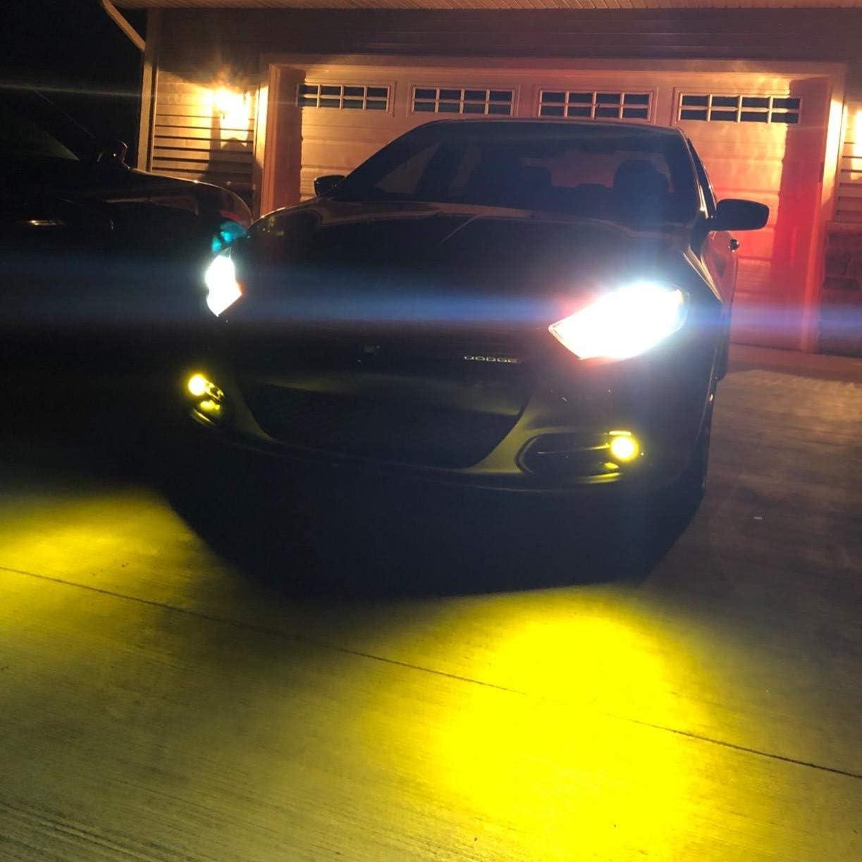 3000K Alla Lighting P22d Base HB4 9006 LED Yellow Fog Lights Bulbs Replacement Upgrade