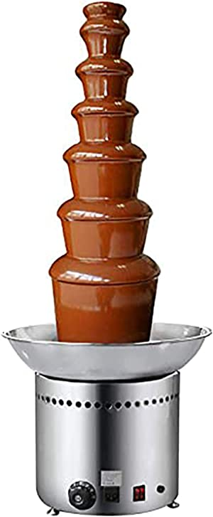 NEWTRY 7 Tiers Stainless Steel Chocolate Fondue Fountain Machine 17.64lbs Capacity 86~230℉Adjustable For Home Party Restaurant (220V)
