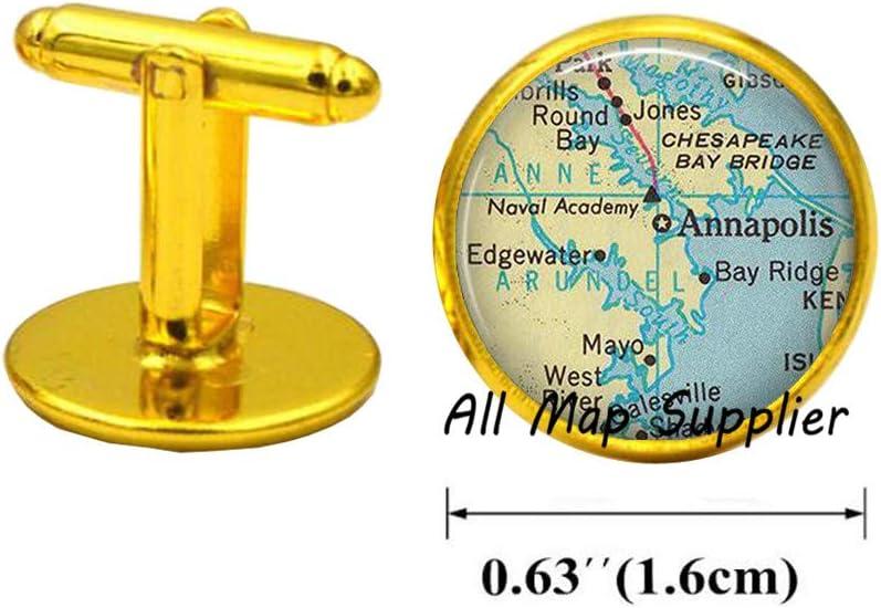 Charming Cufflinks,Annapolis,Maryland map Cufflinks,Annapolis map Cufflinks,Annapolis map Cuff Links,Anaapolis Cuff Links map Jewelry,A0267