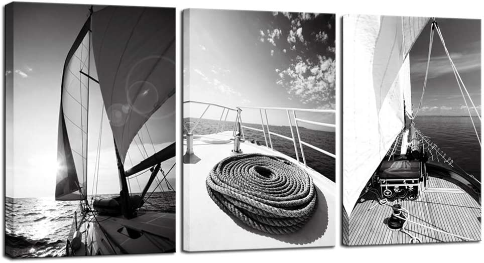 LevvArts 3 Piece Black and White Wall Art Yacht Sailboat at Sunset Pictures Painting Nautical Wall Decor for Home Office Living Room Man Bedroom Stretched and Framed Ready to Hang