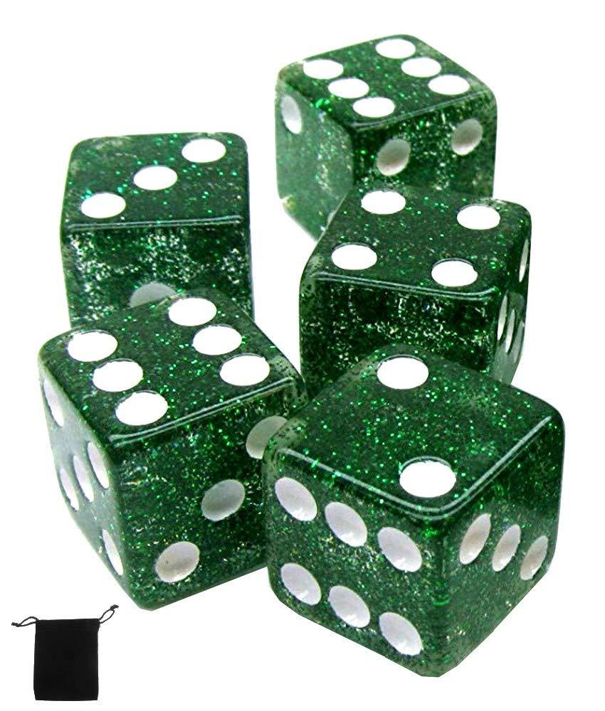 【人気商品!】 16mmダイス標準透明スクエアコーナー5個セット Green ブラックベルベット布ポーチバッグ付き Green B07GZZC7DK (Glitter) (Glitter) B07GZZC7DK, 田中貴金属 レガロ:7f7d6330 --- eastcoastaudiovisual.com