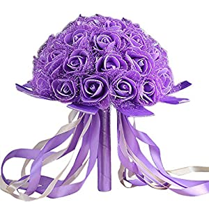 DICPOLIA Wedding Bouquets for Bridesmaids Crystal Ribbon Roses Bridesmaid Wedding Bouquet Bridal Artificial Silk Flowers Holding Flowers 61