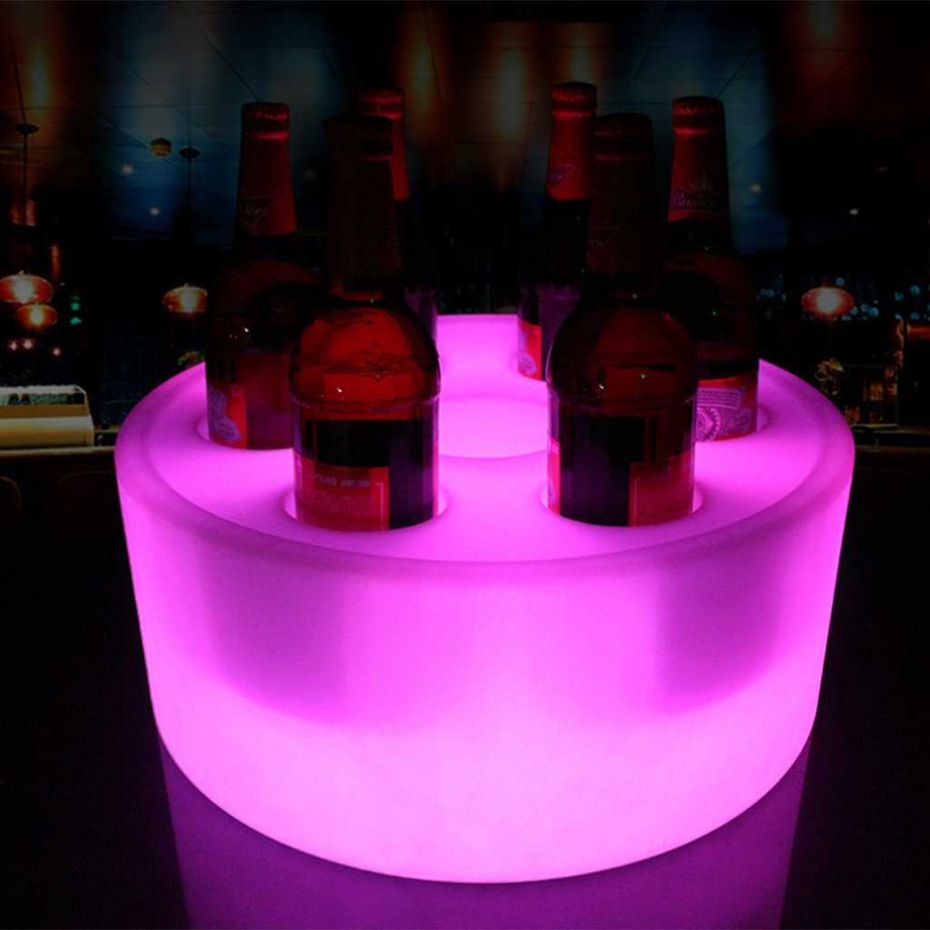 Augrous LED Circular Trays Circular Waterproof Plastic 16 Color Changing Wine Show Stand with Remote for Bar Parties Decoration (Color : 7 Holes)