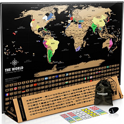 Landmass Scratch Off World Map Poster. 17x24 Black and Gold Travel Tracker Map w/Flags, US States Outlined. Clean...