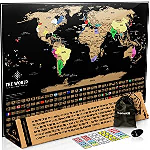 Scratch Off Map Of The World With States and Flags. Black Travel Tracker Map 17x24. By LANDMASS