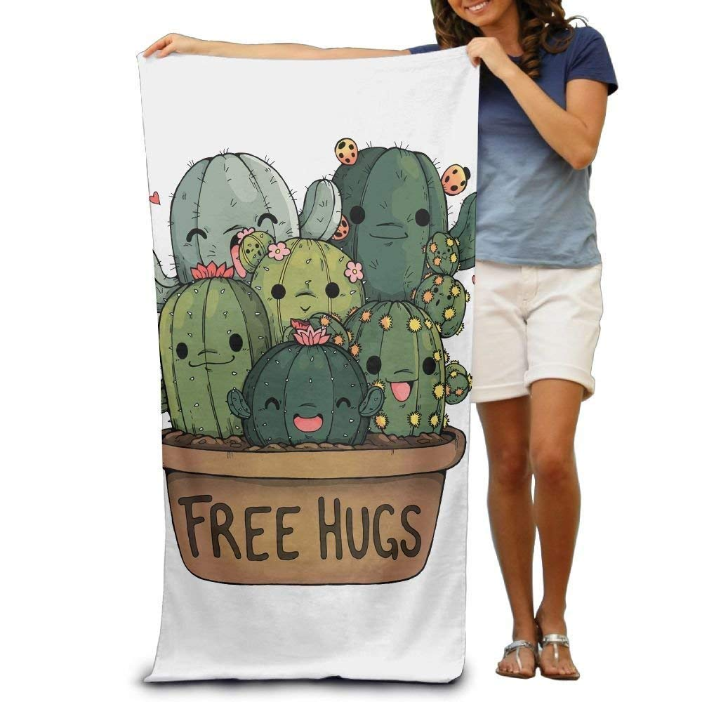 Super Absorbent Beach Towel Cactus Plant Free Hugs Polyester Velvet Beach Towels 31 X 51 Inch DEFFWBb