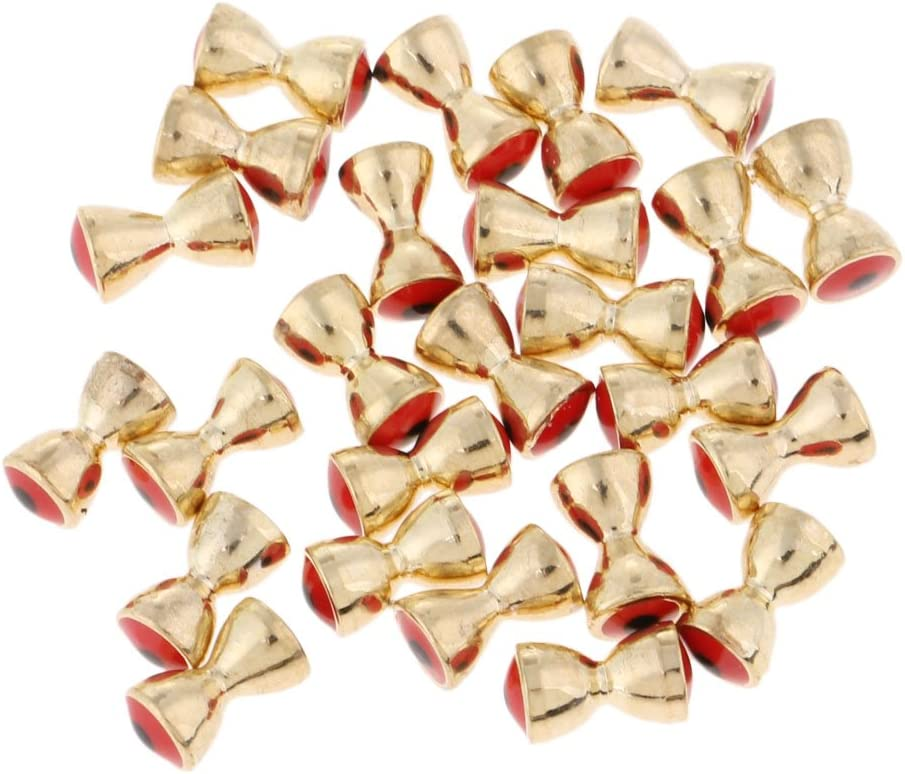 FLAMEER 25Pcs Fly Tying Beads Hook Streamer Nymph Head Bead Brass Dumbell Eyes 5 Sizes