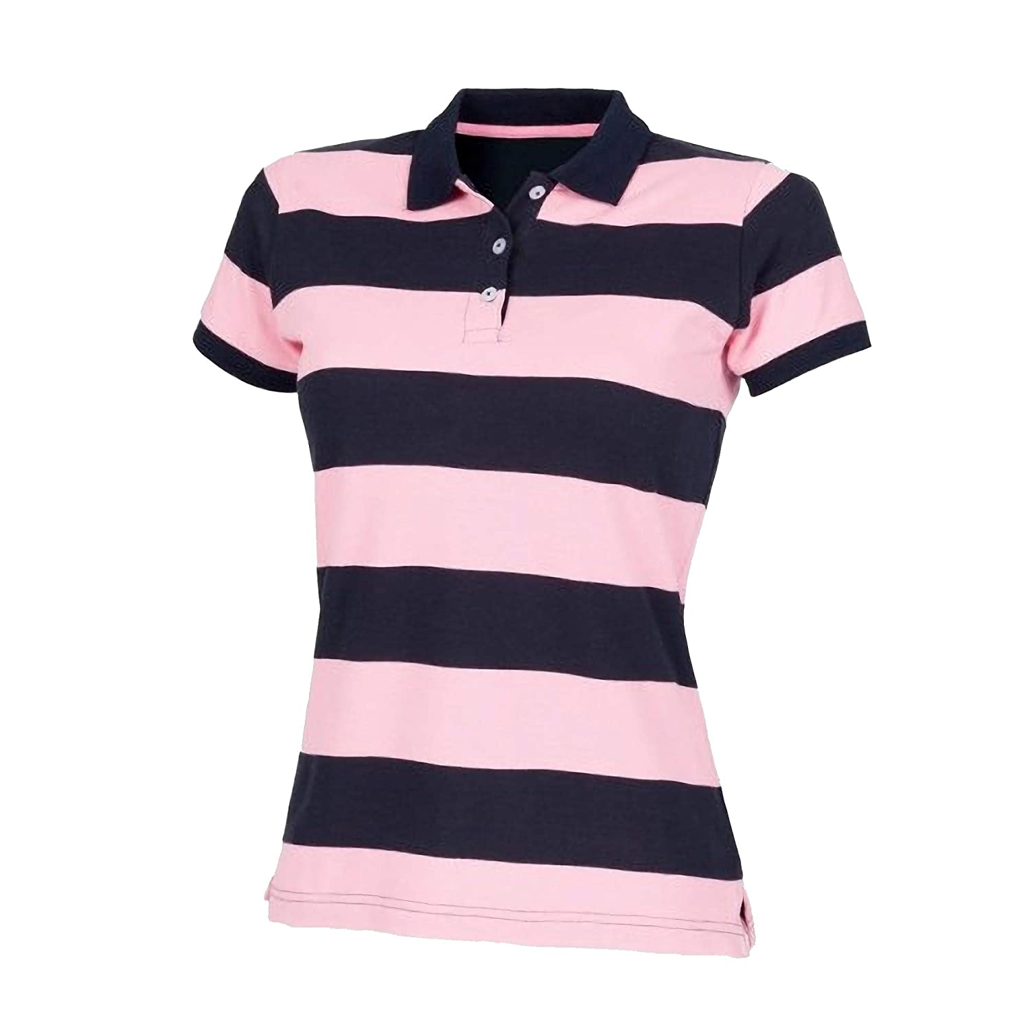 Front Row Womens Ladies Striped Pique Slim Fit Polo Shirt