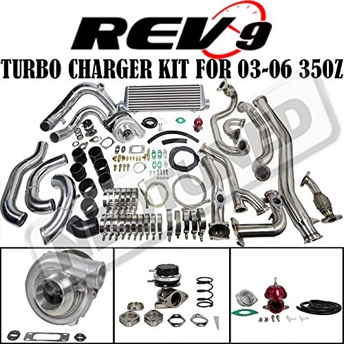 REV9 COMPLETE BOLT ON T3 60-1 TURBO CHARGER KIT FOR 03-06 350Z Z33//G35 VQ35DE
