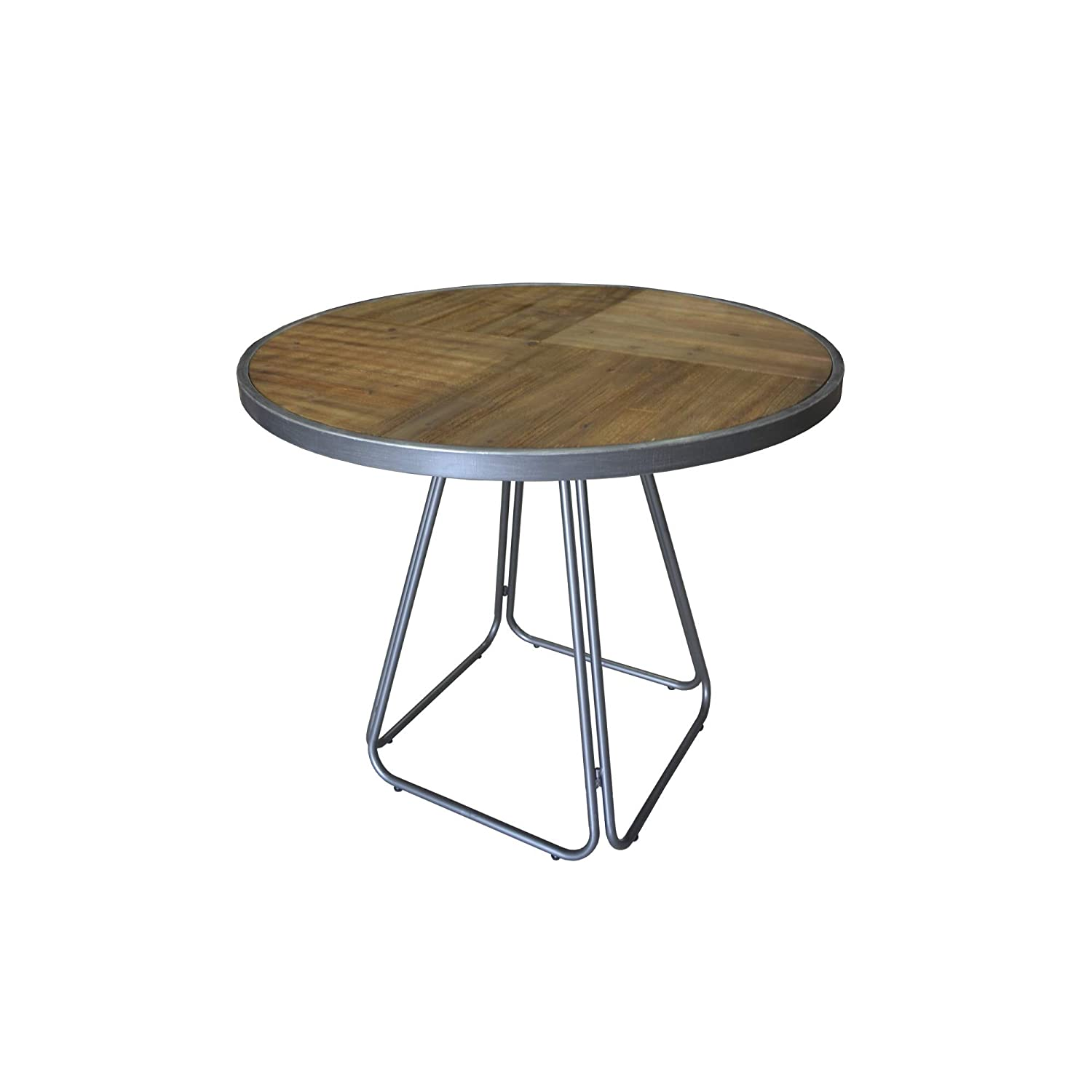 Herrera Round Gathering Height Dining Table in Rustic Fir with Shaped Tubular Steel Frame And Solid, Pieced Wood Top, by Artum Hill