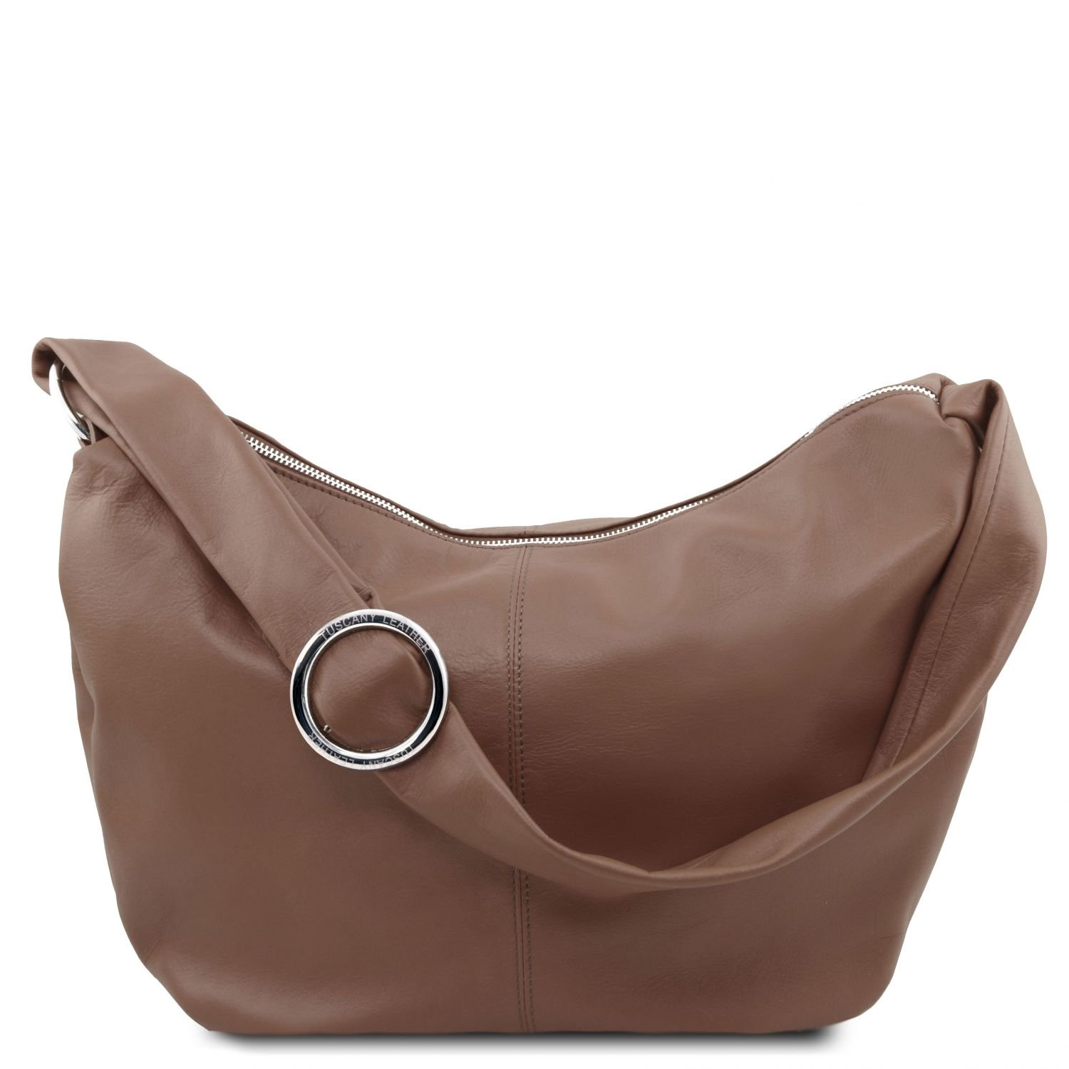 Tuscany Leather Yvette Leather hobo bag Dark Taupe Leather shoulder bags