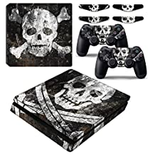 Dark Skull PS4 Slim Vinyl Decal Skin Sticker Cover Case for Playstation 4 Slim Console and Play Station 4 Slim Dualshock Wireless Controller with Set of 4 LED Lingtbar Stickers
