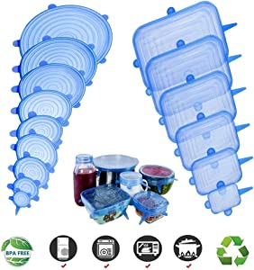 Silicone Stretch Lids 15 Pack of Reusable Food Covers for Various Shape of Containers, Dishes, Bowls, Safe in Dishwasher, Microwave and Freezer,Easy to Clean,9 Round and 6 Square Lids(Blue)