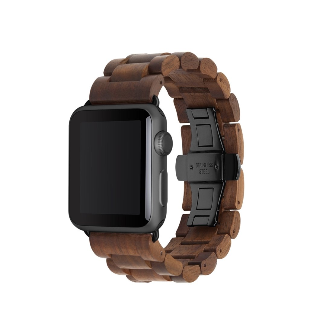Woodcessories - Apple Watch Band Compatible with Apple Watch Made of Real Wood, EcoStrap (38/40 mm, Walnut/Black)