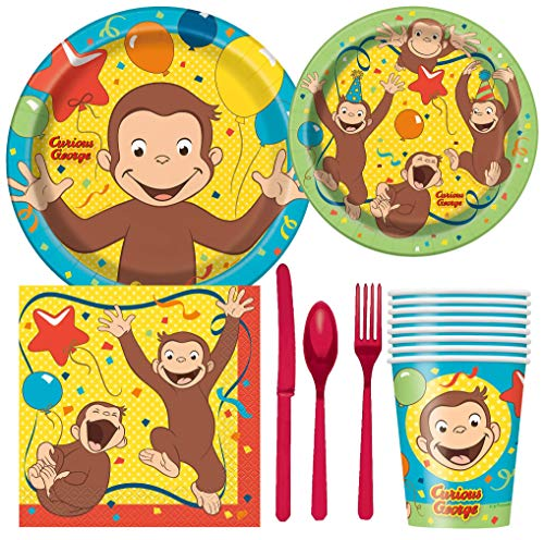 Curious George Birthday Party Supplies Pack Including Cake & Lunch Plates, Cutlery, Cups & Napkins for 8 Guests]()