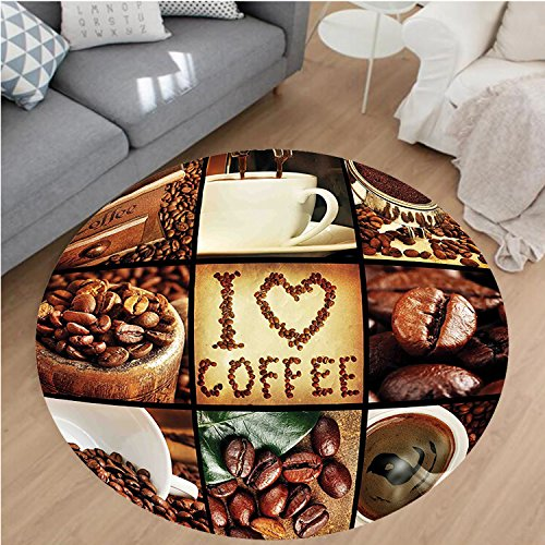 Nalahome Modern Flannel Microfiber Non-Slip Machine Washable Round Area Rug-e Coffee Theme Collage Roasted Beans Brewing Machines and Cups Aromatic Drink Brown White area rugs Home Decor-Round 36