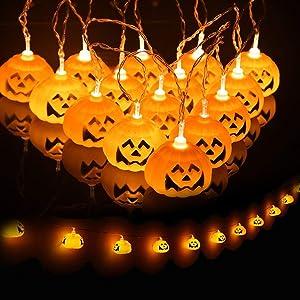 JamBer Halloween Pumpkin Fairy Lights 20LED Pumpkin String Lights 3D Halloween Orange Pumpkin Lights for Outdoor Garden, Yard, Patio, Xmas Tree, Party, Home Decoration