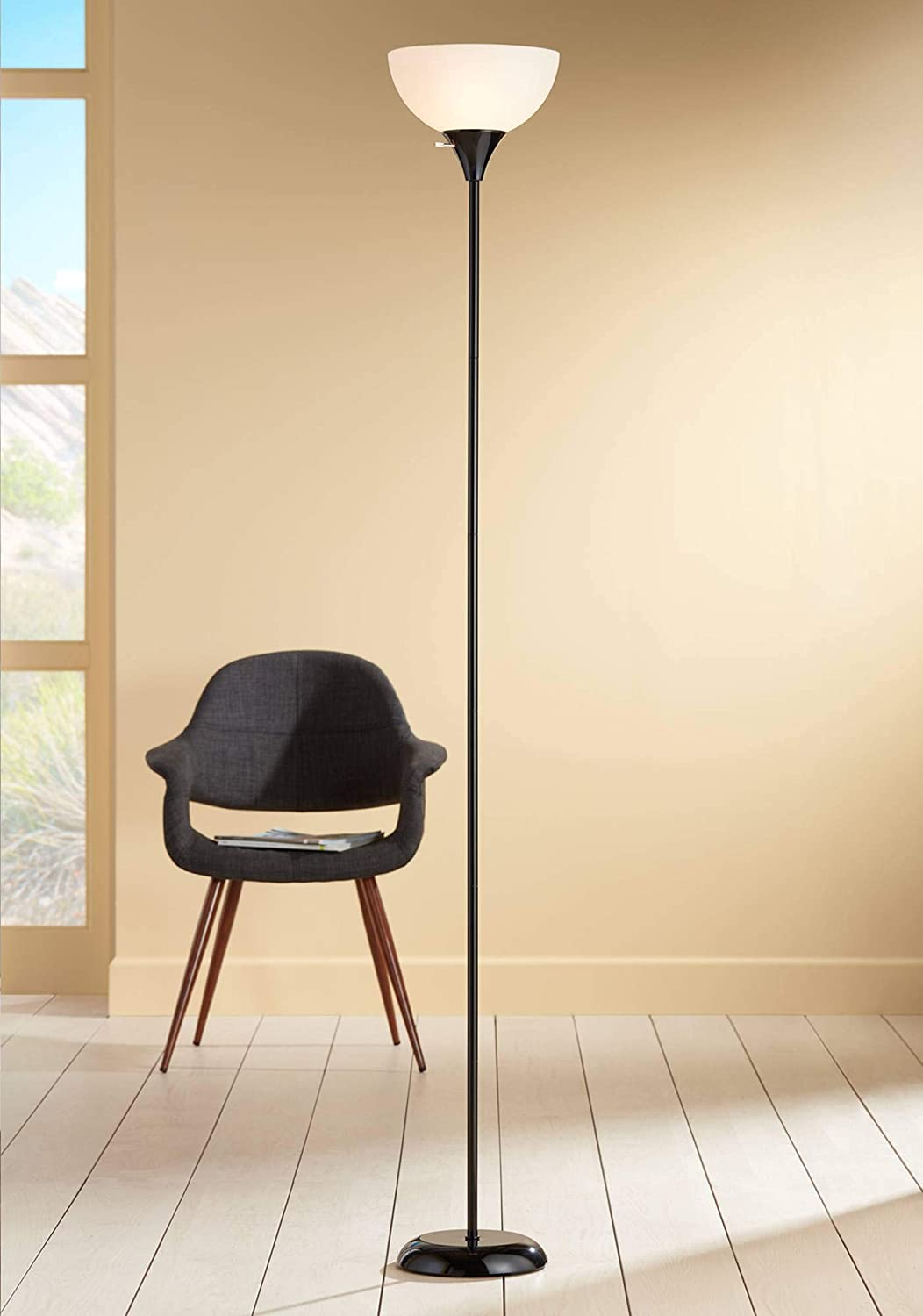 Bailey Modern Torchiere Floor Lamp Tall Black Thin Profile White Shade for Living Room Bedroom Office Uplight – 360 Lighting