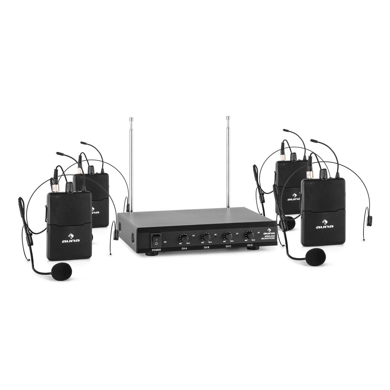 auna VHF-4-HS Set micrófonos con auriculares inalámbricos VHF de 4 canales (alcance hasta 100 metros, incluye receptor y 4 micro manos libres): Amazon.es: ...