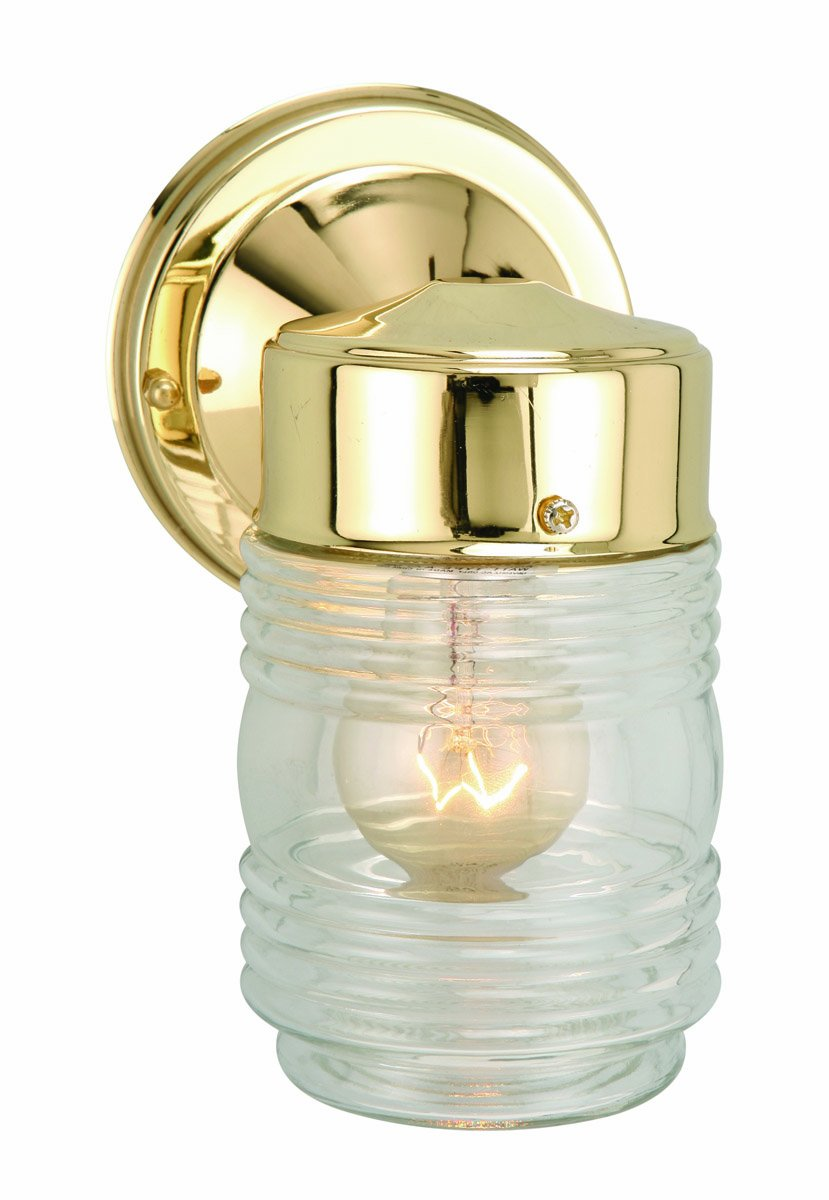 Amazon design house 502179 jelly jar 1 light indooroutdoor amazon design house 502179 jelly jar 1 light indooroutdoor wall light polished brass home improvement arubaitofo Choice Image
