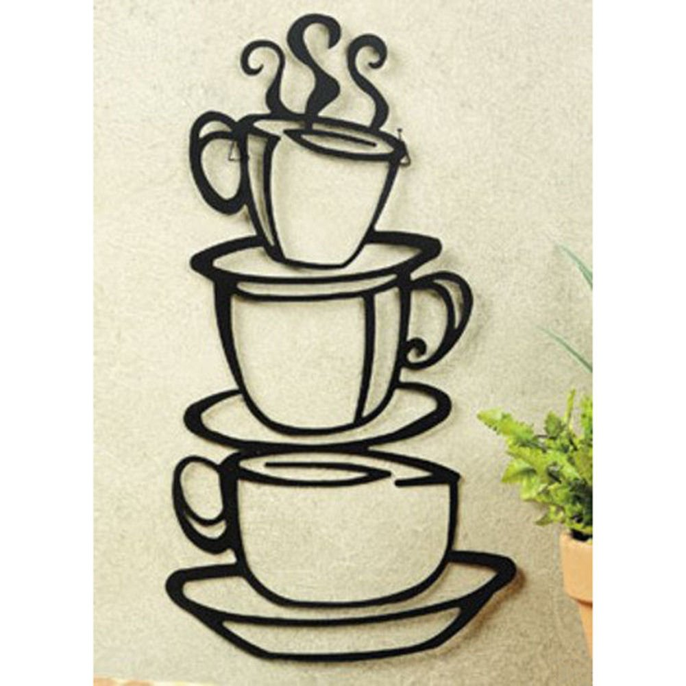 Amazon.com: Super Z Outlet Black Coffee Cup Silhouette Metal Wall Art For  Home Decoration, Java Shops, Restaurants, Gifts: Home U0026 Kitchen