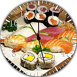 Japanese Sushi Frameless Borderless Wall Clock Y84 Nice For Gift or Room Wall Decor