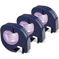Dymo LetraTag Ruban Plastique 12mm x 4m Noir sur Transparent Compatible avec Dymo LetraTag LT-100H LT-100T LT-110T QX 50 XR XM 2000 Plus, 3-Pack