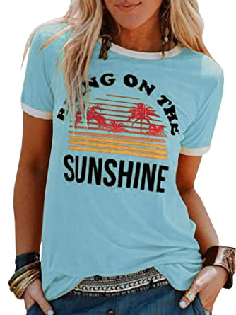 e3c8851ab Umeko Womens Bring On The Sunshine Graphic Tees Letter Printed Casual Loose  Summer T-Shirt at Amazon Women's Clothing store: