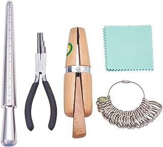 Pandahall Elite Kit di strumenti per fare anelli mandrino ad anello calibro di misura delle dita pinza per avvolgimento ad anello morsetto ad anello in legno panno per lucidatura argento