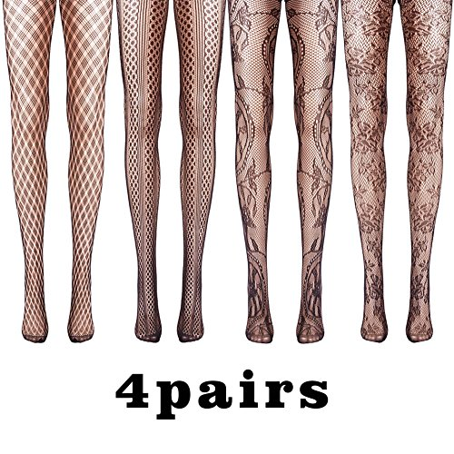 4 Pairs Women's Fishnet Lace Stocking Pantyhose (Lace Womens Fishnets)
