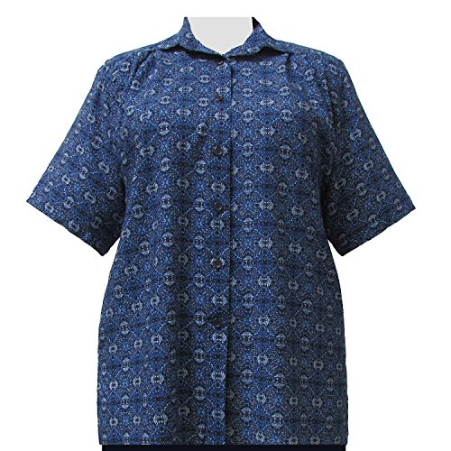 A Personal Touch Women's Plus Size Blue Spirograph Short Sleeve Button-Down Blouse - 3X