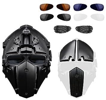 Casco de motocicleta al aire libre táctico lleno-cubierto con las gafas de la máscara