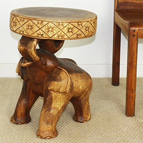 Thai Handmade Chang Elephant End Table 15 Diameter X 20 Inch Height Monkey Pod Acacia Wood with Livos Walnut Oil Finish. Thailand Work Art By WADSUWAN SHOP. - 15 Walnut Twist Twist