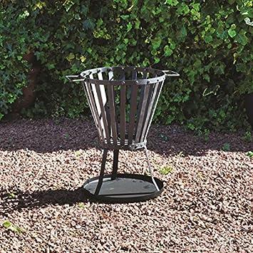 Nueva barbacoa Metal cesta de fuego estufa al aire libre jardín brasero para barbacoa quemador de registro de madera Base: Amazon.es: Jardín