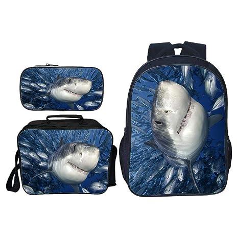 Mochilas infantiles Tiburón de boca grande 3D Imprimió Confort transpirable, Mochila escolar set Para Niños Mochila Caja Almuerzo Estuche Para ...