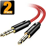 oldboytech AUX Cable, [2-Pack,8ft,Hi-Fi Sound Quality] 3.5mm Auxiliary Audio Cable Nylon Braided AUX Cord for Car/Home Stereos,Speaker,iPhone iPod iPad,Headphones,Sony Beats,Echo Dot & More