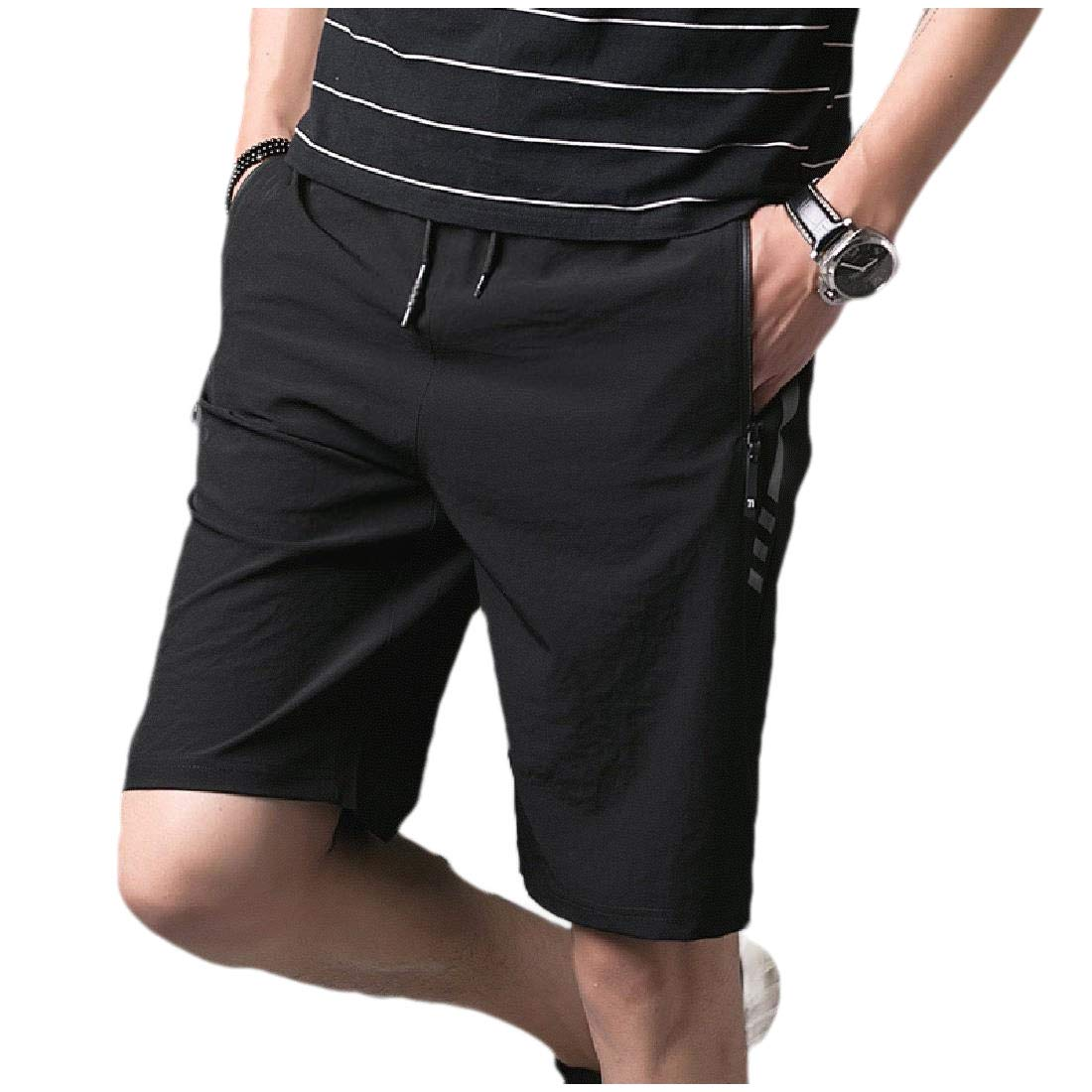 Highisa Men Sports Drawstring Stretchable Quick Drying Half Beach Board Short