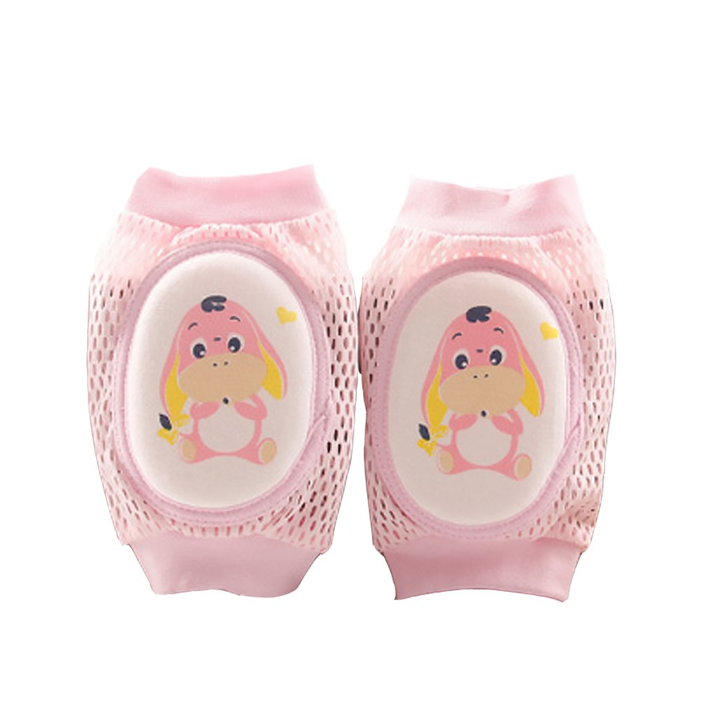 Baby Toddler Traspirante Mesh Sponge Cartoon Gomitiere a gomito striscianti Protector One Pair Little Donkey Pink